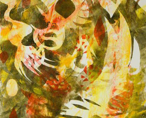 Tropical Desires, 11x14, monotype