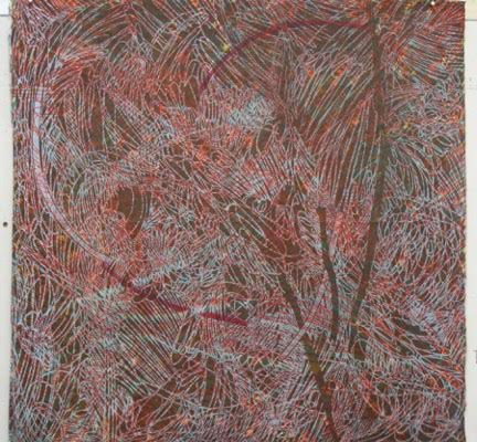 Red Coral Woodcut Monoprint